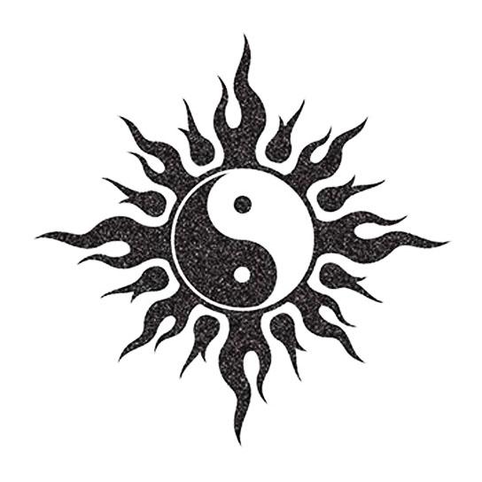 glitter yin und yang in flammen i love fake tattoos. Black Bedroom Furniture Sets. Home Design Ideas